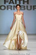 Gold wedding dress with asymmetrical hemline and sweetheart top @Offbeat Bride