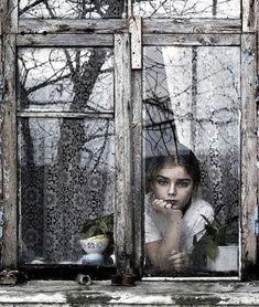 window, reflection, lovely girl