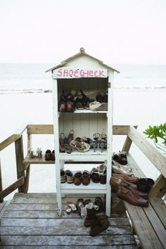 """Have a basket or old structure like this for """"shoe check"""" at the ceremony at the bottom of the stairs."""
