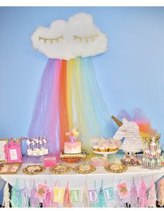 Unicorn party, pastel rainbow party, unicorn birthday, unicorn dessert table, rain cloud, unicorn decorations, sleepy cloud decorations, unicorn cake, unicorn pinata, kids party ideas, girls party ideas