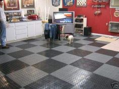 Checkered Graphite and Black make for a great combo! #GarageFlooring