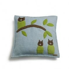 Fairtrade Owl Wool Felt Cushion Cover from Little Baby Company