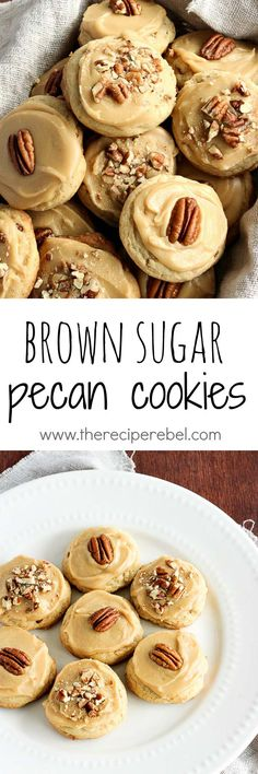 Sugar Pecan Cookies: Soft, buttery pecan cookies topped with brown sugar frosting and more pecans -- one perfect cookie! Great for Christmas baking or any day of the year! Pecan Cookie Recipes, Pecan Cookies, Cookies Soft, Cookie Desserts, Yummy Cookies, Just Desserts, Baking Recipes, Delicious Desserts, Dessert Recipes