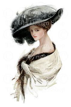 Harrison Fisher Vintage Image Victorian Lady by TheOldDesignShop, $4.00