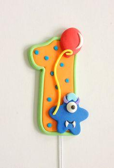 READY TO SHIP Little Monster Number Fondant Cake por CakesbyMaylene