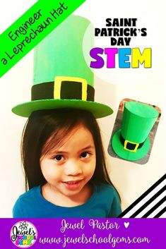 St. Patrick's Day STEM Activities (Leprechaun Hat STEM Challenge)   This Leprechaun Hat St. Patrick's Day STEM Challenge is perfect for this holiday! Challenge your students to design and build a Leprechaun Hat using cardboard, black and yellow felt (plain colored paper can also be used), and green paint. The Leprechaun Hat must be big enough to be worn by a child without breaking or falling off. Click to see on TpT!
