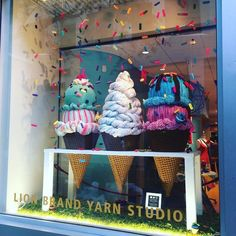 "LION BRAND YARN SHOP, New York, ""Tomorrow we can eat broccoli, but today is for ice-cream"", pinned by Ton van der Veer"