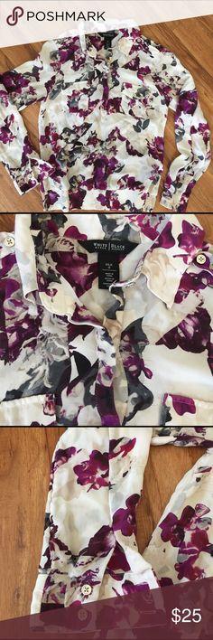 White House Black Market Silk Top White silk top with purple, grey, black & beige flowers. Great condition White House Black Market Tops Blouses
