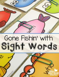 Sight Words Fishing Game {with Editable Fish!} - This Reading Mama FREE Sight Words Fishing Game - Editable Fish Included - This Reading Mama Teaching Sight Words, Sight Word Practice, Sight Word Activities, Spelling Activities, Listening Activities, Literacy Activities, Literacy Centers, Writing Centers, Phonics Games