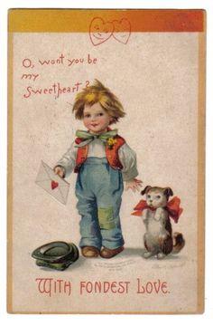 Boy Holding Love Letter~Puppy w/ Red Bowtie~A/S Clapsaddle~Valentine~1909 #ValentinesDay