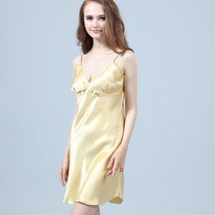 This flattering and slippery is cut from wonderfully soft, lightweight. 👄👄👄✨👑✨👄👄👄 V Neckline offers you a feminine sexy and bold vibe without being too over. fabrics: crafted with natural mulberry silk Silk Nightgown, Silk Chemise, Mulberry Silk, Night Gown, Empire, Feminine, Lingerie, Sexy, Fabrics