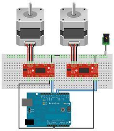 Control two stepper motors one arduino                                                                                                                                                     More