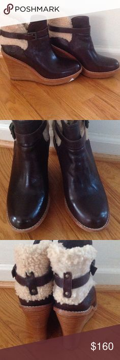 """Ugg Wedge Ankle Booties Perfect for winter!  These hard to find Anais wedge ankle boots are extremely hard to find.  Their a rich cocoa brown with shearling trim.  Approx 4"""" platform.  There is some wear on the shearling and minor scratches.  Lots of life left!! UGG Shoes Winter & Rain Boots"""