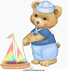 Illustration of Teddy bear with toy sailboat