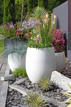 Contemporary fiber cement planters in brilliant white with colorful flowers and . - Contemporary fiber cement planters in brilliant white with colorful flowers and grasses. Great idea for front yard curb appeal or a backyard seating area Small Front Yard Landscaping, Garden Landscaping, Landscaping Ideas, Cement Planters, Planters Flowers, Cement Patio, Front Yard Planters, Backyard Seating, Garden Seating
