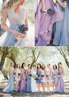 Romantic lavender x blue bridesmaid dresses Photographer: Jose Villa//praise wedding Lavender Bridesmaid Dresses, Wedding Bridesmaids, Wedding Dresses, Spring Wedding Colors, Lilac Wedding, Wedding Colours, Dream Wedding, Baby Blue Weddings, Best Bride