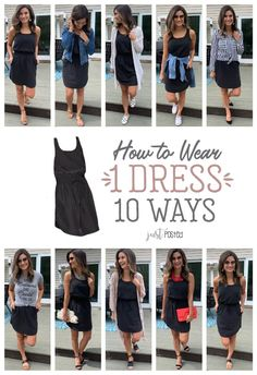 How to Wear and style 1 Black Dress 10 Different Ways - Every wardrobe needs a favorite little black dress and this one is perfect to dress up or down! It is a great item for spring or summer and for a capsule wardrobe. Such an affordable black dress too! Black Dress Outfits, Spring Outfits, Little Black Dress Outfit, Summer Teacher Outfits, Black Tshirt Dress Outfit, Black Joggers Outfit, Black Maxi Skirt Outfit, Striped Dress Outfit, Dress Casual