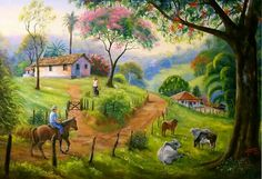 Paisaje tipico costarricense Puerto Rico Pictures, Cottage Art, Kunst Poster, Plastic Art, Country Scenes, Naive Art, Mexican Art, Print Pictures, Beautiful Paintings