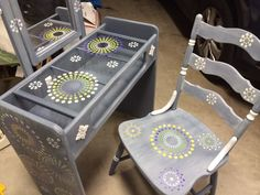 Up cycled vanity and vintage chair with a whimsical design