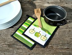 Quilted Fabric Potholders Woven Apple Green embroidered kitchen tools potholders - set of 2 by KatiaFabricStudio on Etsy