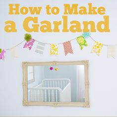 fabric bunting how to, diy, with other garland ideas, pom pom, paper fan, ribbon, scraps