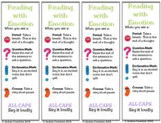These reading with emotion bookmarks would help students remember to read with prosody. I like how it specifies what each punctuation mark is supposed to signify. Reading Fluency Activities, Reading Resources, Teaching Reading, Guided Reading, Reading Groups, Free Reading, Teaching Ideas, Reading Response, Reading Intervention