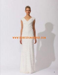 Tadashi Shoji belle robe de mariée simple glamour col en V mousseline Style CC90566L