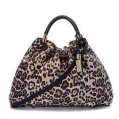 Michael Kors Pebbled Leather Ring Large Brown Leopard Drawstring Bags Outlet - $84.99