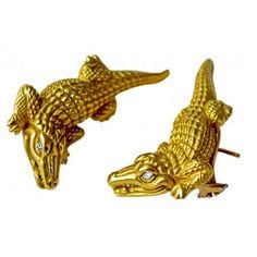 KIESELSTEIN-CORD  Barry Kieselstein-Cord 18k Gold Diamond Eyes Alligator Earrings    $4,250