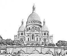 Free coloring page coloring-sacre-coeur-paris.