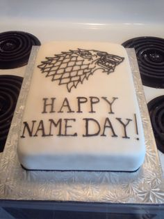 Game of thrones birthday cake for my fiancé's birthday! House Stark sigil :D