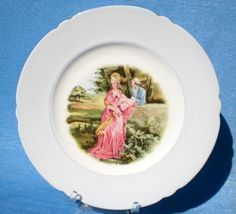 STUNNING VINTAGE Ca 1945 - 1966 *SHELLEY* FINE BONE CHINA COURTING COUPLE PLATE