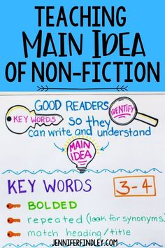 Main idea can be a challenging concept for students to grasp, so it's important to present it in a variety of ways. Check out the post to see the 3 ways that have been most effective for me and how you can use them with your students as well! Reading Resources, Reading Activities, Teaching Reading, Main Idea Activities, Teaching Main Idea, Reading Stations, Good Readers, Word 3, Mentor Texts