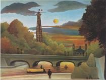 Henri Rousseau, Seine and Eiffel tower in the sunset (1910)