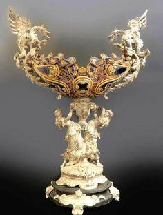 Monumental French Bronze Porcelain Figural Centerpiece
