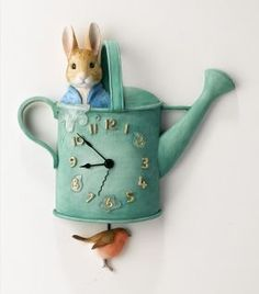 Beatrix Potter shop - New Peter Rabbit Watering Can Clock Cumbria, Beatrix Potter Nursery, Peter Rabbit Nursery, Beatrice Potter, Peter Rabbit And Friends, Frederique, Storybook Cottage, Paperclay, Baby Sleep
