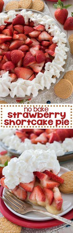 EASY No Bake Strawberry Shortcake Pie - just a few ingredients to a fresh summer pie!