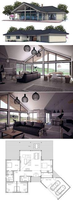 Inspiration #maison #moderne #plan http://www.m-habitat.fr/plans-types-de-maisons/architecte-et-constructeur/construire-sa-maison-en-faisant-appel-a-un-constructeur-2440_A
