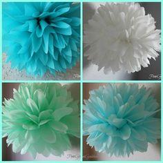 Beach Wedding Decorations - 5 Tissue Poms - Ceremony Aisle Decoration. $14.00, via Etsy.