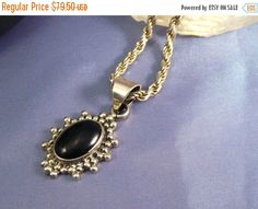 ON SALE Handmade Pendant Mexico Black Onyx Signed Sterling 925 Silver Italian 16 Inch Rope Chain 29 Grams Lot