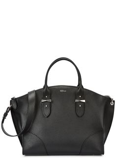 Alexander McQueen black grained leather tote Adjustable shoulder strap, adjustable top handles, designer stamp, feet, silver hardware, internal zipped pocket, two patch pockets, fully lined Zip fastening across top Comes with a dust bag