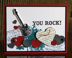 Stampin' Up! guitar SU by Krystal DeLeeuw, Krystal's Cards 'n Boy Cards, Kids Cards, Cute Cards, Valentine Day Cards, Holiday Cards, Scrapbook Cards, Scrapbooking, Musical Cards, Masculine Cards
