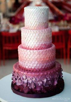 Ombre Maroon Cake