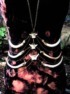 Deer ribcage body harness with raccoon vertebrae.    http://www.etsy.com/shop/AdornedImmortal
