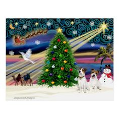 Christmas Magic Jack Russell Terrier (two) Postcard