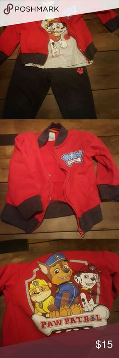 Paw Patrol Outfit 1 Paw Patrol sweat suit with zip up jacket, a short sleeve t-shirt with Marshall on it and sweatpants with 2 paw prints. It has pockets in the pants. Size 3T  No holes or stains. Smoke free home Nickelodeon Matching Sets