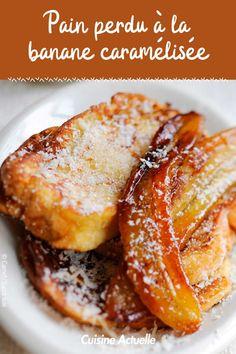 La recette du pain perdu à la banane caramélisée #cuisineactuelle #painperdu #banane #caramel Caramel, Pains, Brunch, French Toast, Sugar, Breakfast, Pancakes, Food, French Toast Sticks