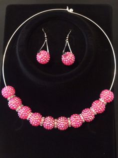 # 418: Hot Pink Disco Ball Earrings & Choker Set $15.00 (+ Shipping) to Purchase item please email Leonie at leonie@rsgiftsandfashions.com. You will receive an email response within 24hours. All payments are made through paypal.( Order 4 or more Items & Shipping is FREE!!!!). http://www.rsgiftsandfashions.miiduu.com/