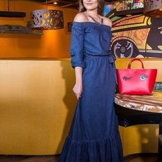 Image result for vestido jeans longo Denim Fashion, Womens Fashion, Denim Maxi Dress, Denim And Diamonds, Refashion, Denim Jeans, How To Wear, Outfits, Dresses