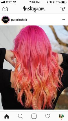 42 Lovely Long Pink Hairstyles and Hair Colors in 2018 Orange Ombre Hair, Pink And Orange Hair, Ombre Hair Color, Cool Hair Color, Cheveux Oranges, Honey Blond, Color Fantasia, Sunset Hair, Hair Dye Colors